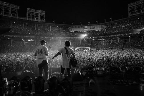 After the storm: the late Chicago Cubs legend Ernie Banks and Eddie Vedder, Wrigley Field, July 19, 2013.