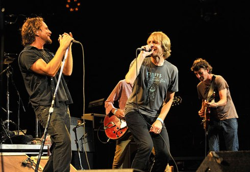 Kick out the Jam: Eddie Vedder and Stone Gossard joined by Mudhoney's Mark Arm and (obscured) Steve Turner for PJ's 20th anniversary, 2011. Photo by Kevin Mazur/WireImage