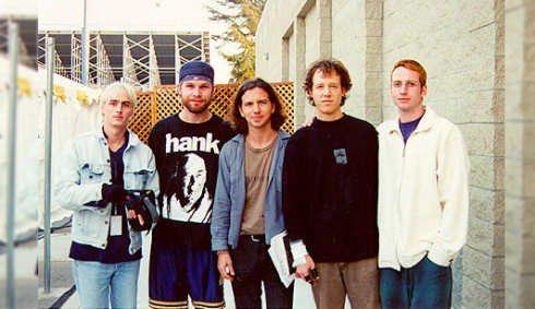 PJ circa No Code, with Jack Irons (second right).